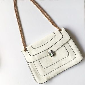 White gold chain crossbody clutch NWT